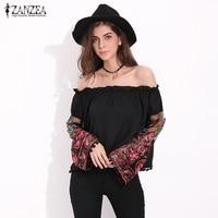 ZANZEA Women Fashion Floral Embroidery Sheer Sleeve Summer Blouse Tops Sexy Slash Neck Ruffles Tassel Long