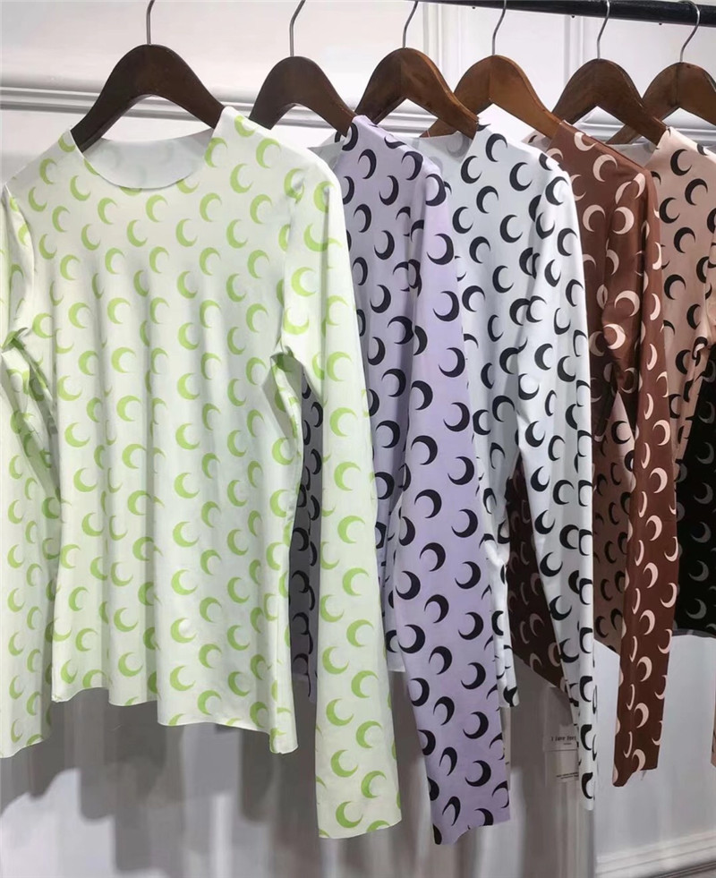 New Marine Serre Bottoming Shirt Women 1:1 Best Quality 6 Colour Hot Sell Half Moon Tights T Shirts Tees Marine Serre T-shir