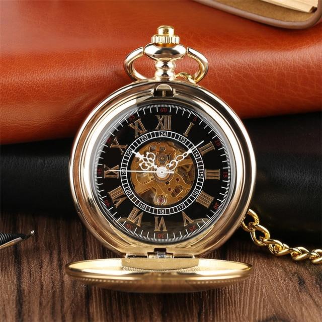 Golden Mechanical Pocket Watch Hand Winding Steampunk Cool Pendant Pocket Chain
