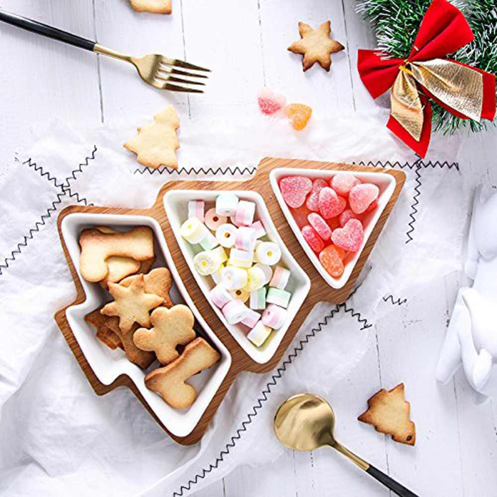 Creative Christmas Tree Shaped Ceramic Dishes Dinner Plates Lovely Dinnerware Creative Festive Party Supplies With Bamboo Board