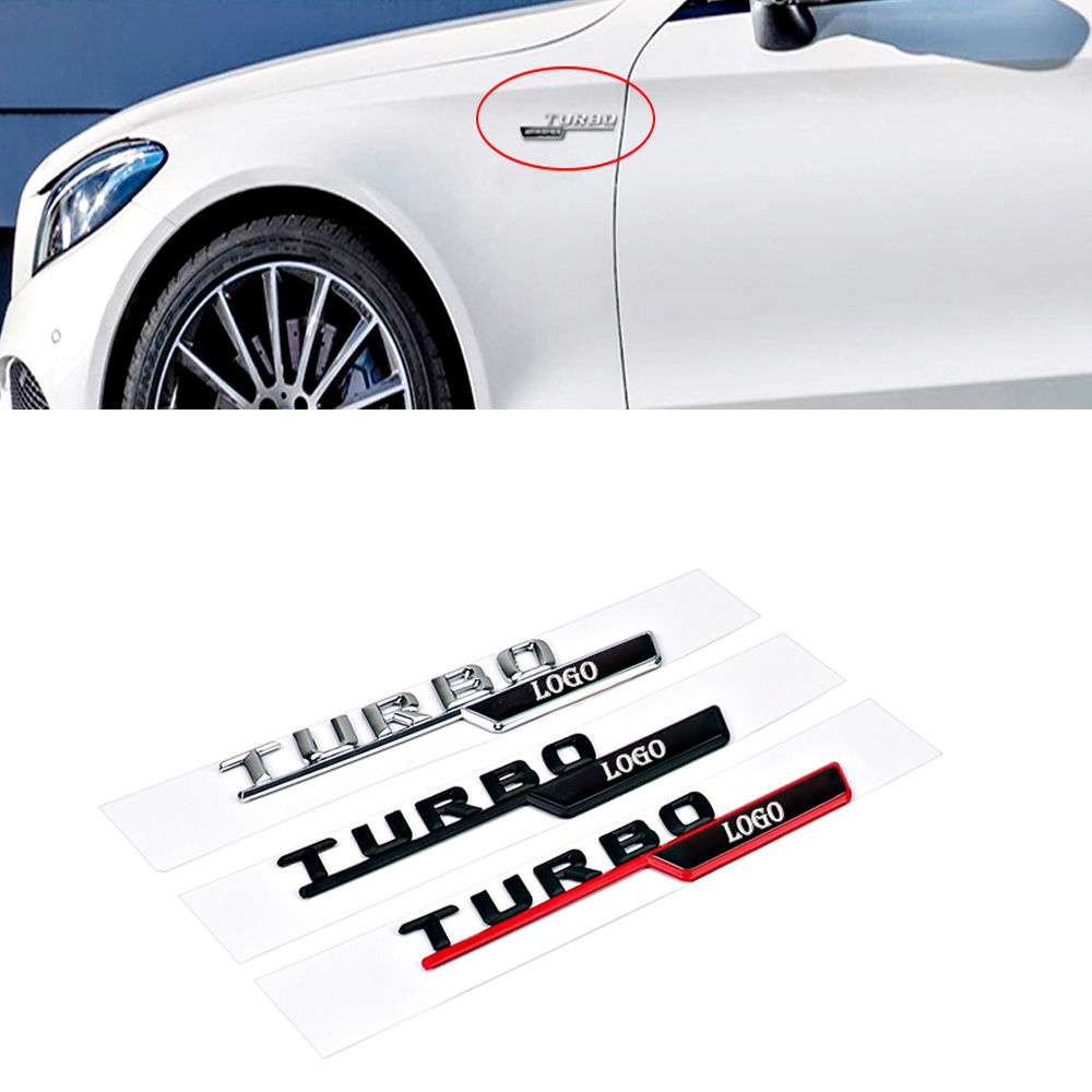 1 Pair for TURBO AMG Mercedes W212 W211 W124 W210 W204 W202 W163 CLA GLC GLE CLK Car Side Rear Car Sticker Emblem Badge Sticker