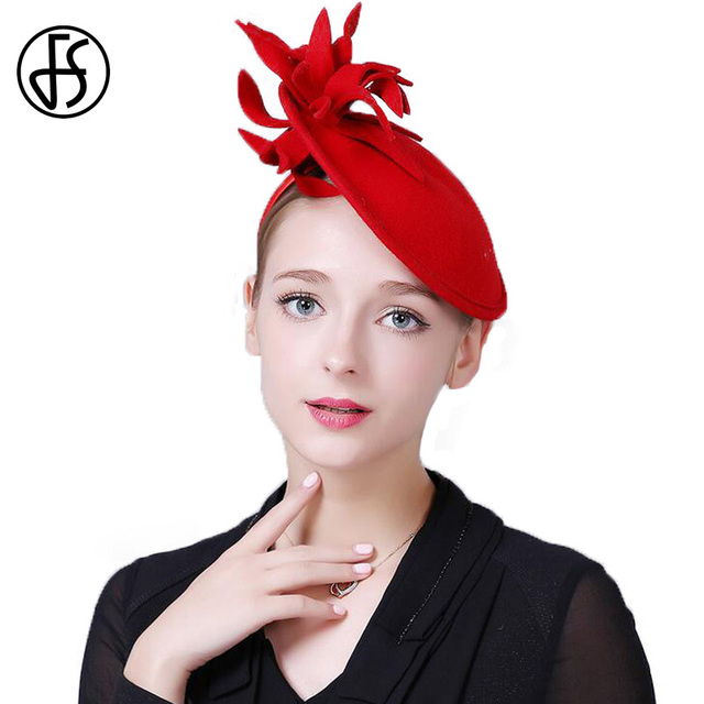 FS Female Winter Hats For Women Elegant Red Black Wool Felt Pillbox Hat  Vintage Fascinator Flower Ladies Church Chapeau Femme e10844696165
