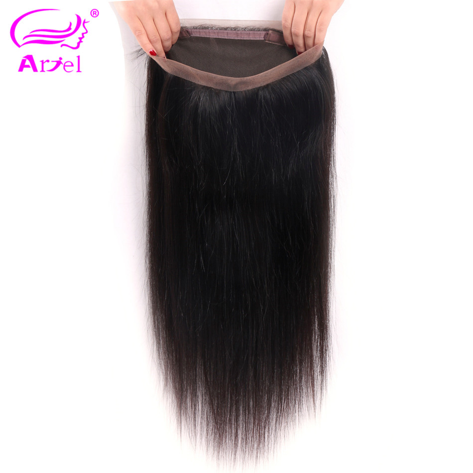 Ariel Lace-Frontal-Closure Straight-Hair Indian Non-Remy 100%Human-Hair-Extension 360