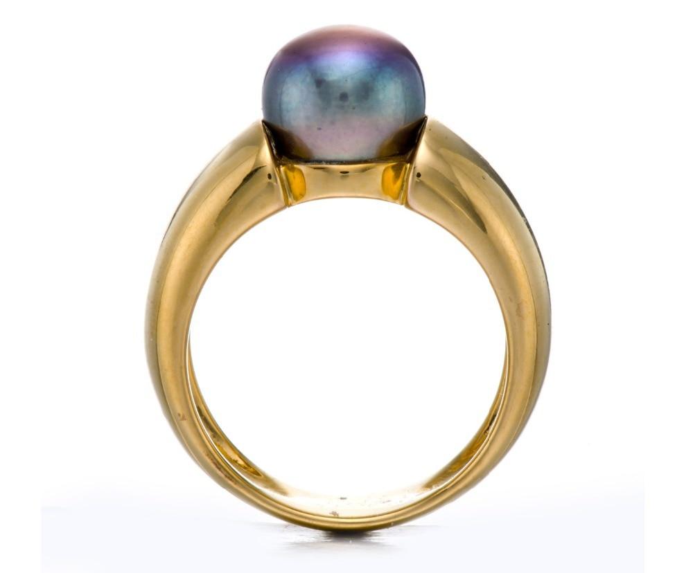 Hutang noir violet perle de culture d'eau douce (9-9.5mm) anneaux solide 925 bague en argent Sterling pour les femmes Fine élégante bijoux cadeau - 3
