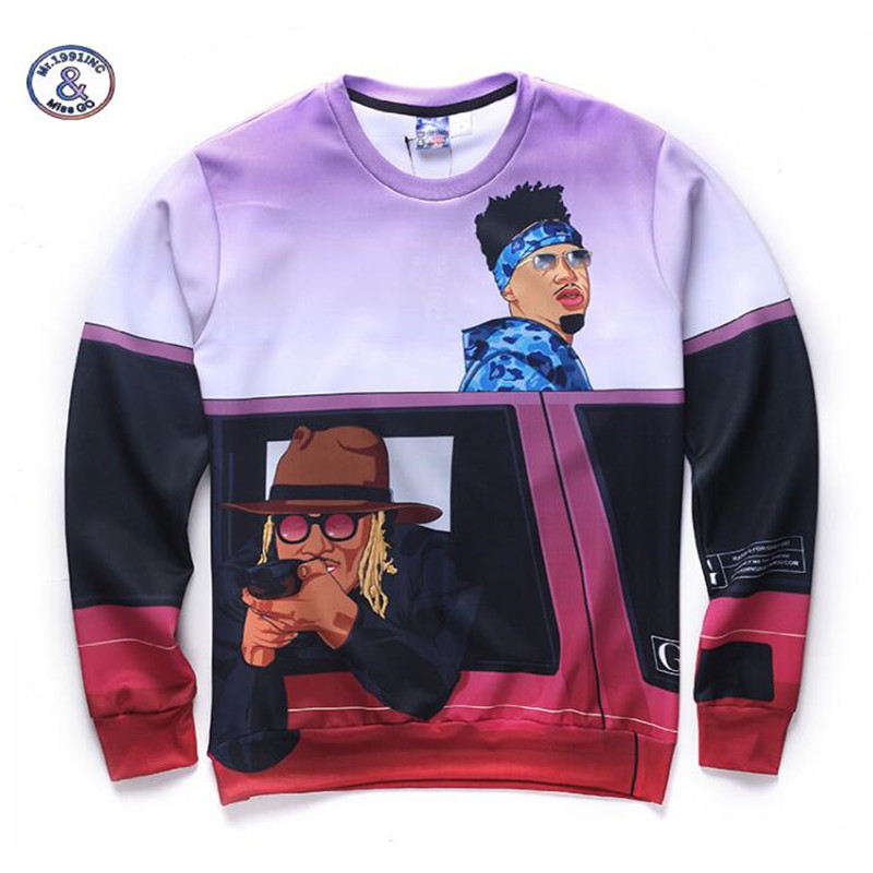 Mr.1991INC&Miss.GO New arrivals men/boys cartoon 3d sweatshirt funny print casual hoodies autumn tops brand clothing