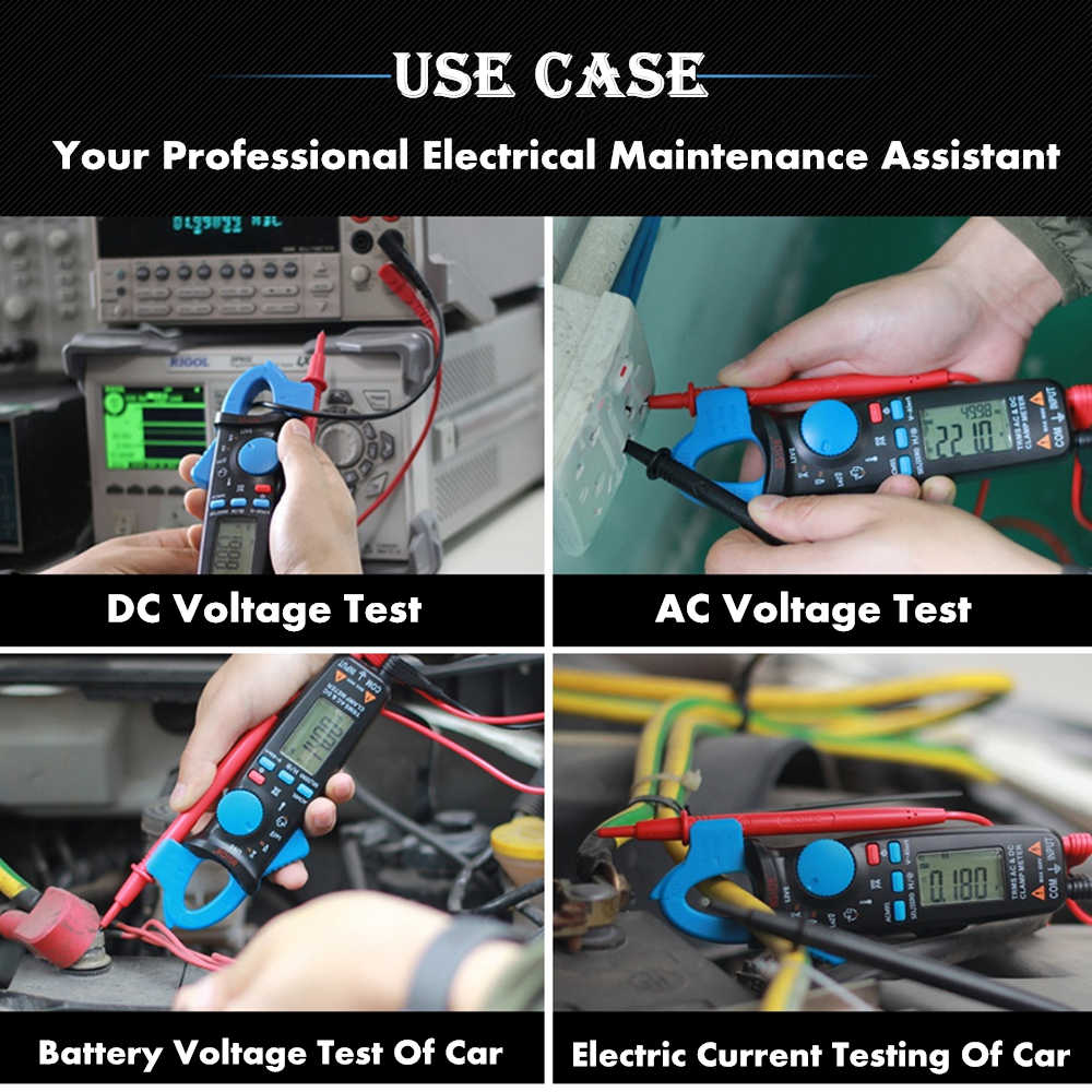 BSIDE ACM91 Digital AC/DC Current Clamp Meter Auto-Ranging True RMS  Multimeter Live Check NCV Temp Frequency Capacitor Tester
