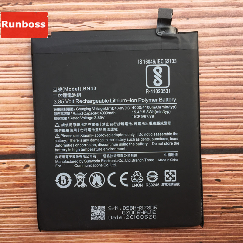 Real Original 4100 mAh Bateria Para Xiaomi Redmi Nota 4X BN43 Snapdragon 625/Note 4 global Snapdragon 625