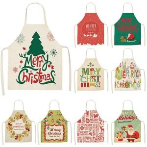 Image 1 - 1Pcs Merry Christmas Apron for Woman Pinafore Cotton Linen Aprons 53*65cm Adult Bibs Kitchen Baking Cooking Accessories MX0004