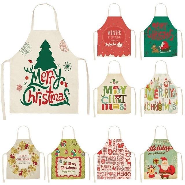 1Pcs Merry Christmas Apron for Woman Pinafore Cotton Linen Aprons 53*65cm Adult Bibs Kitchen Baking Cooking Accessories MX0004
