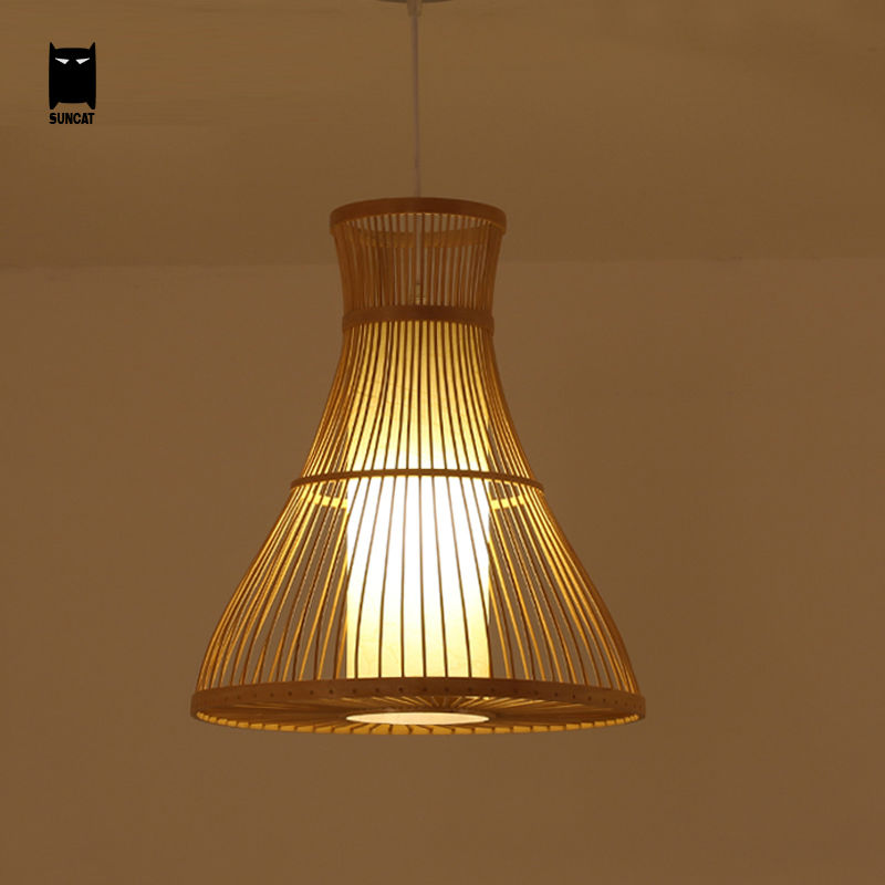 Bamboo Wicker Rattan Pendant Light Fixture Southeast Asia