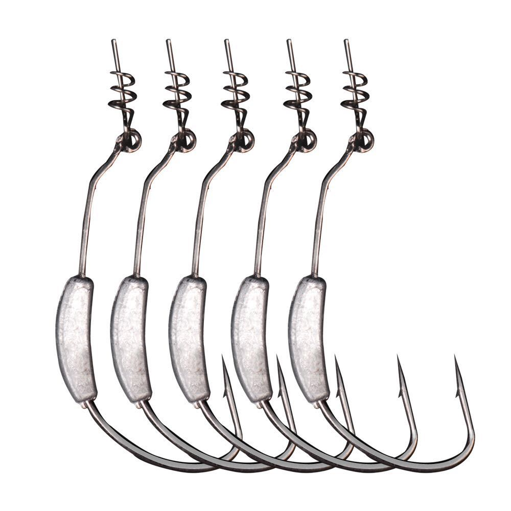 5 pcs / lot lead jig head fish hook 2g-7g Fishing Hooks with spring lock pin for soft fishing bait of carbon steel hooks