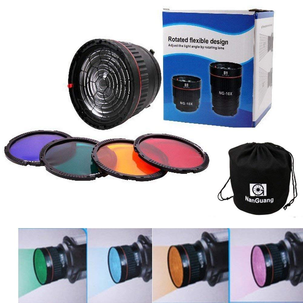 Nanguang NG 10X Bowen Mount Studio Light Focus Lens with 4 Color Filter for Flashlight Led Light  CD50|Photographic Lighting| |  - title=
