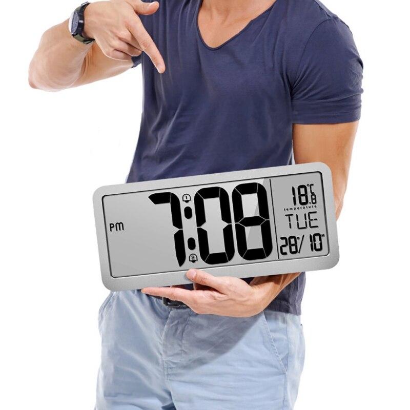 Horloge murale numérique à Volume réglable alimentée par batterie avec 2 réglages d'alarme grande horloge d'affichage à cristaux liquides