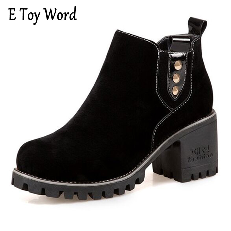E TOY WORD Women Shoes Autumn Winter Suede Ankle Boots Fashion Vintage Round Toe Square Hight Heel Chelsea Boots calzado mujer e toy word boots women fashion autumn martin boots warm women shoes ankle boots for women winter botas mujer wedges ankle boots