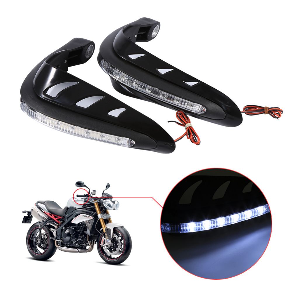 1 Pair Universal Motorcycle Handguards Motocross Hand Guards One Set Combination Handlebar Protector With LED Turn Signals Light
