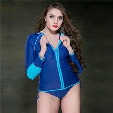 Новинка 2018, женские костюмы для плавания, рубашки для плавания с длинным рукавом, топы с защитой от УФ лучей, на молнии размера плюс, для пляжного дайвинга, серфинга, женская рашгард 5XL