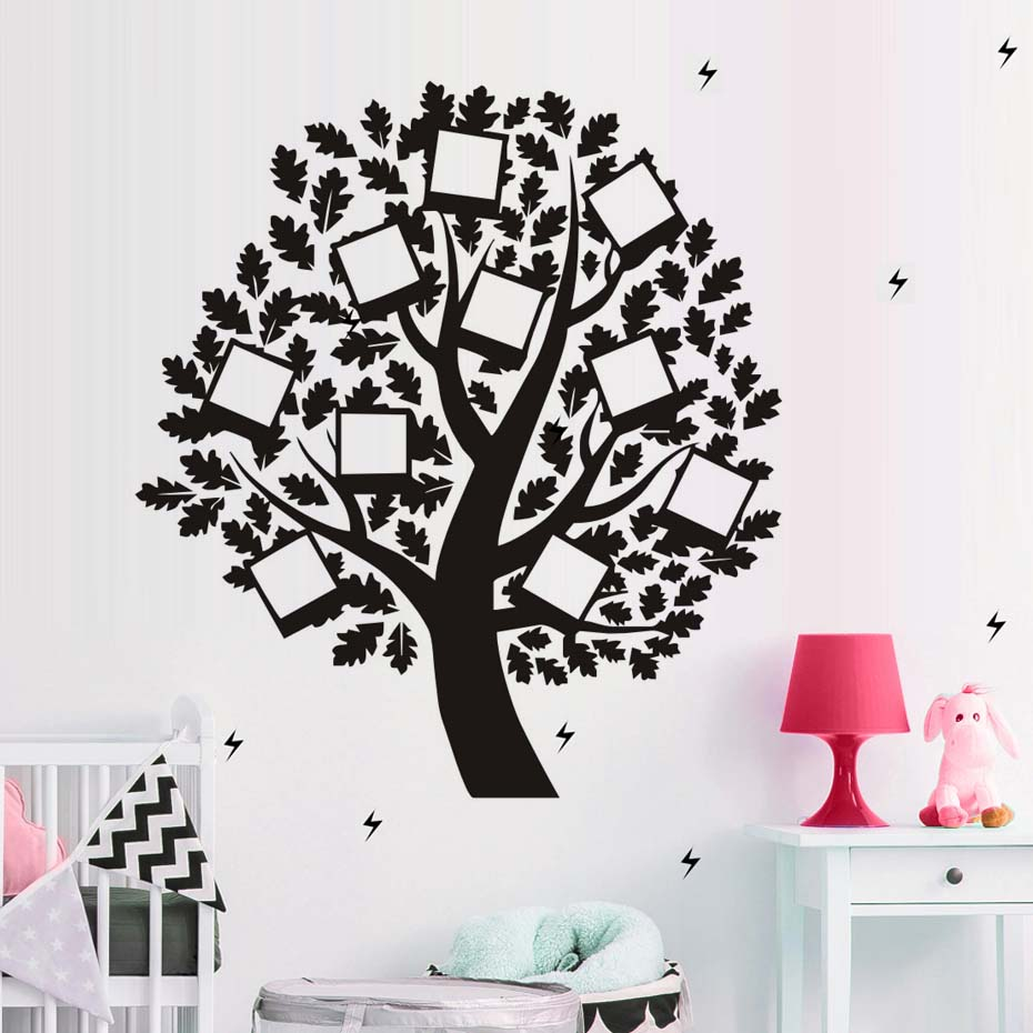 Photo frame family tree wall decal vinyl removable art wall photo frame family tree wall decal vinyl removable art wall stickers self adhesive diy wallpaper creative home decor in wall stickers from home garden on amipublicfo Image collections