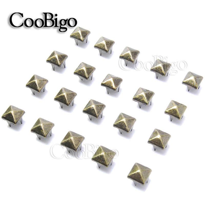 100 piezas., 7mm, tachuelas de pirámide, remaches, puntas de clavos, Punk Rock, pulseras DIY, bolsos, zapatos, accesorios de ropa