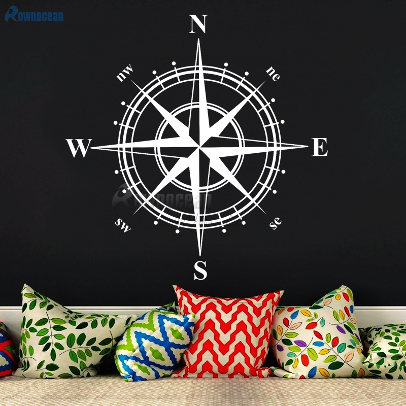 ახალი წელი 2017 Nautical Home Decor Compass Art Wall Stickers ბავშვთა ოთახი ვინილის წყალგაუმტარი სტიკერი muraux საძინებელი C-01