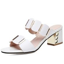 2019 Summer Women White Slippers Slides Sandals Shoes Slip On Open Toe Split Leather High Heel Sandals YG-A0347 недорого