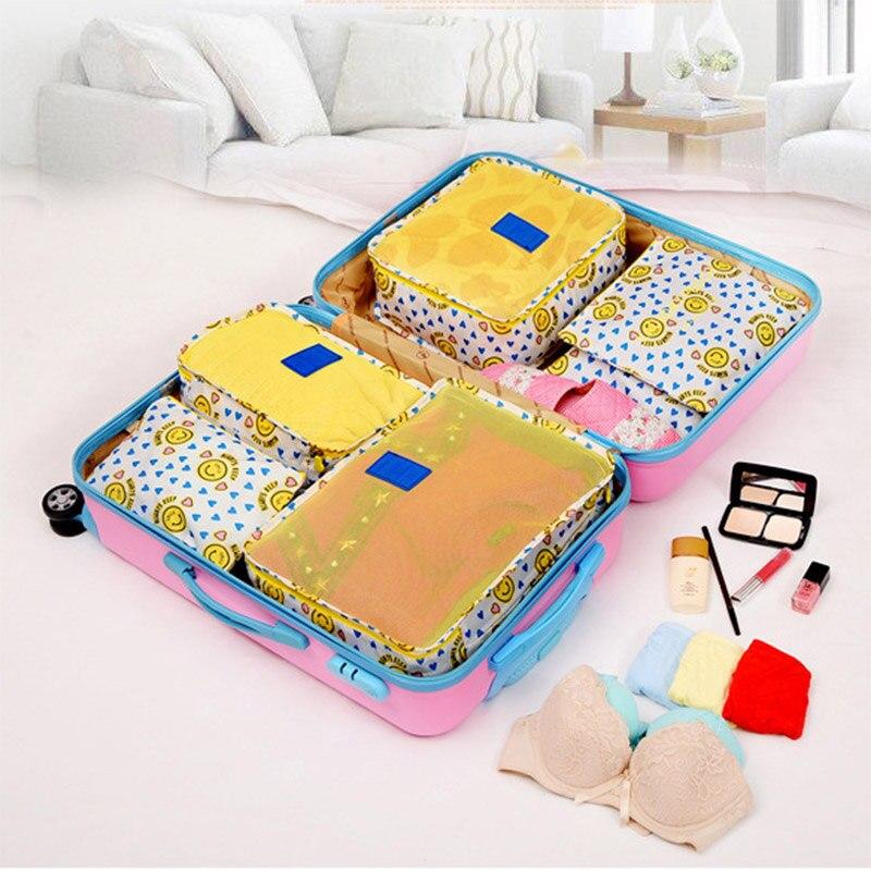 2019 Hot Sale Travel Organizer 6Pcs Set Storage Bag Set Clothes Organizer Bags Pouch Suitcase Home Closet Bags for Storage in Storage Bags from Home Garden
