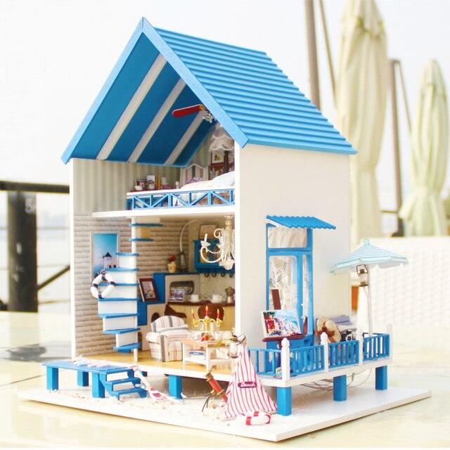 Houten DIY poppenhuis miniatuur Meubels Kamer Led verlichting muziek ...