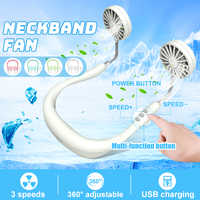 Neck Band Fan White Mini Portable Fan Double Wind Head Neck Fan with USB Rechargeable Air Cooler for Traveling Outdoor Office