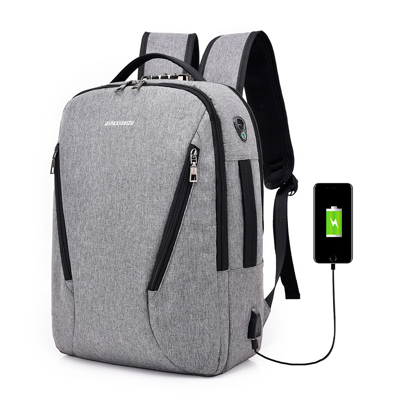J&Q 2019 New Fashion Style Antitheft Lock Bag Business Casual Backpack Custom Coded Lock USB Charging Smart Funtional Backpack