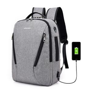 Image 1 - J & Q 2019 Yeni Moda Stil Anti Hırsızlık kilitli çanta Iş rahat sırt çantası Özel Kodlu Kilit USB Şarj Akıllı Fonksiyonel Sırt Çantası