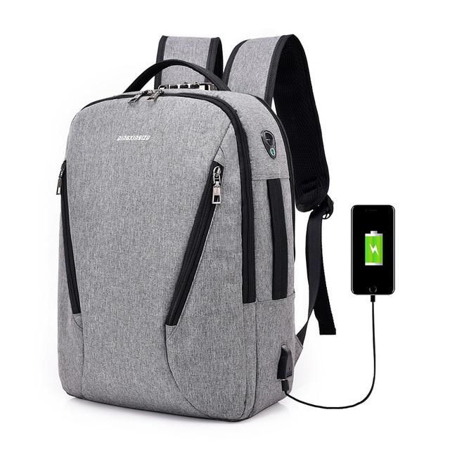 J & Q 2019 Yeni Moda Stil Anti Hırsızlık kilitli çanta Iş rahat sırt çantası Özel Kodlu Kilit USB Şarj Akıllı Fonksiyonel Sırt Çantası
