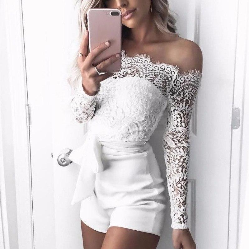 Sexy Women Lace Long Sleeve Jumpsuit Romper Shorts Pants Clubwear Playsuit -MX8