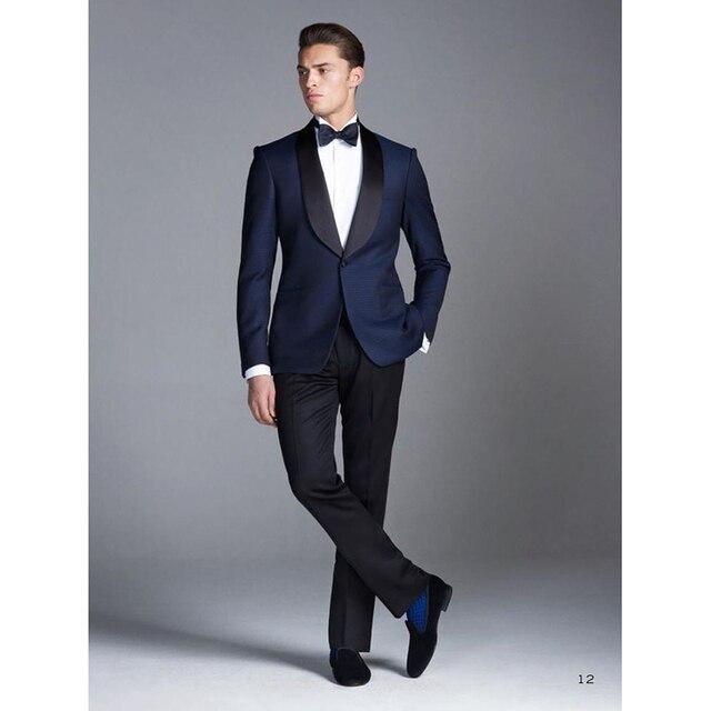 Por encargo azul smoking novio hombres traje de boda Trajes traje hombre  desgaste Esmoquin 3 peices 0249c179544a