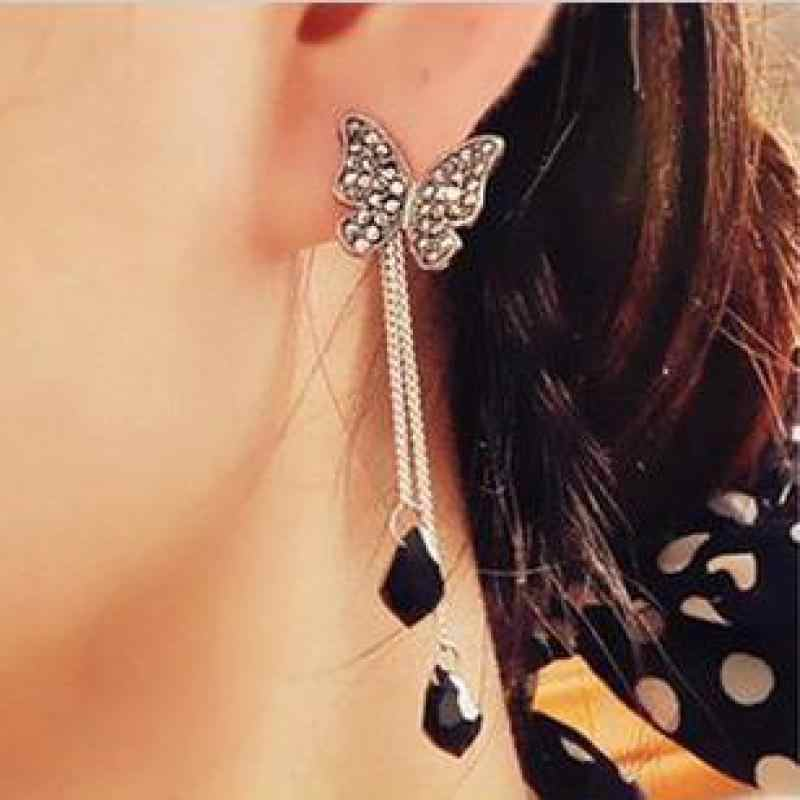 Retro Punk New 2018 Fashion Earrings Butterfly Crystal Fringed Long Ladies Pendant Earrings Wholesale Sales Hot Sale Earrings