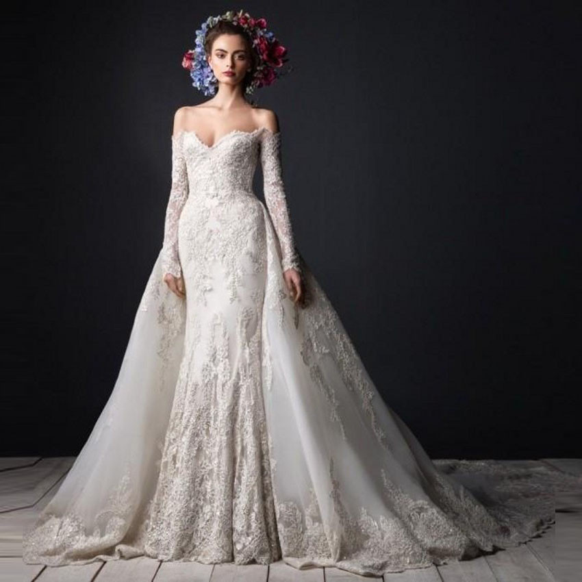 Sweetheart Wedding Dress With Cap Sleeves: Elegant Mermaid Wedding Dress Long Sleeve Sweetheart