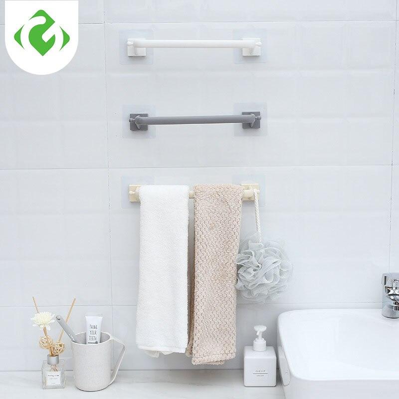 Paste-free Perforated Towel Bar Plastic Bathroom Storage Single Bar Towel Rack Towel Rack  Kitchen Storage Hook Self-adhesive