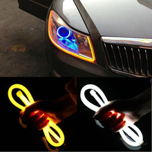 2x 45/60cm car Flowing DRL Flexible LED Tube Strip Daytime Running Lights Turn Signal White and Yellow for BMW E46 E90 F30 E39