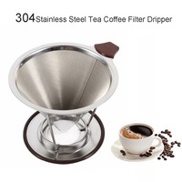 Stainless Steel Coffee Filter Basket Reusable Pour Over Coffee Filter Cone Coffee Dripper Paperless Outdoor portable Filters