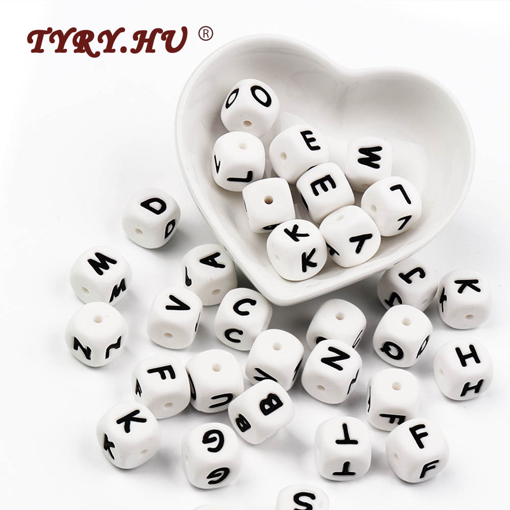 TYRY 1pc  Letter Silicone Beads Food Grade Chews Alphabet Bead Baby Teether Bead Baby Teething Toy DIY Necklace Name Accessories