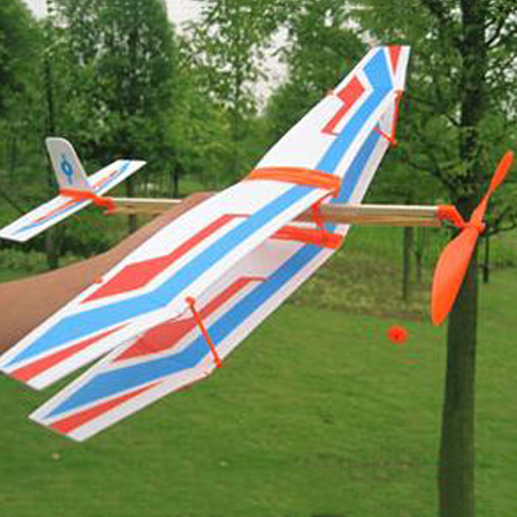 Build Your Own Flying Airplanes, Rubber Band Powered Flight Model Plane Toy DIY Kite Kids Outdoor Play, 50x43x12cm