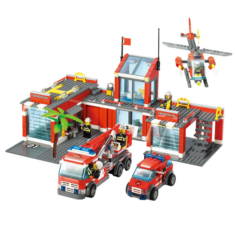 City Large Fire Station Firemen Figures Fire Engines Helicopter Educational Blocks Model Building Toys For Children gudi 9217 874pcs city fire station helicopter firemen building block diy educational toys for children compatible legoe
