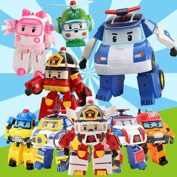 4pcs/6pcs Robocar Korea Robot Kids Toys Anime Action Figure Super Wings Poli Toys For Children Playmobil Juguetes japan anime steel jeeg original bandai tamashii nations super robot chogokin action figure steel jeeg