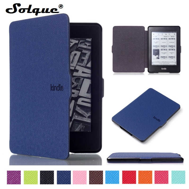 Solque Ultra Slim PU Leather eReader Case For Amazon Kindle Paperwhite Paper White 2015 3 2 1 Hard Shell Flip Cover eBook Cases japan tokyo boy girl magnet pu flip cover for amazon kindle paperwhite 1 2 3 449 558 case 6 inch ebook tablet case leather case