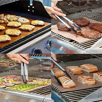 Easy Clean 2 Pcs Reusable No Stick BBQ Grill Mat Baking Grilling Fried Sheet Portable