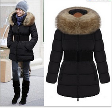 Burst models in Europe and America winter coat female long-sleeved jacket Slim and long sections Nagymaros collar down cotton