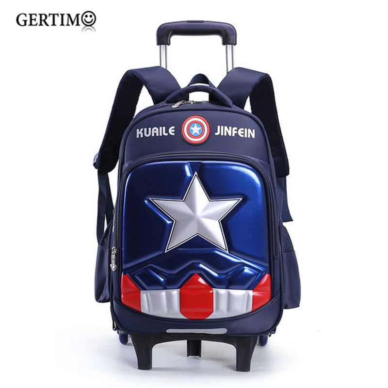 Travel Luggage Bags For Kid Boy's Trolley School Backpack Wheeled Bag For School Trolley Bag On Wheels School Rolling Backpacks