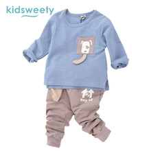 Kidsweety Kids Suits Boys Girls Cotton Pullover O-Neck Long Sleeve T-Shirt Pants Twinset Cartoon 3D Dogs Print Casual Kids Suits