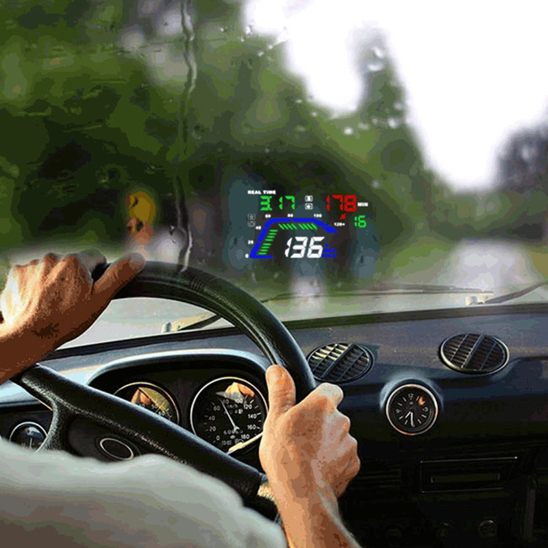 5.5 pouces Q7 Compatible avec tous les projecteurs de vitesse de voiture numérique GPS compteur de vitesse voiture HUD Auto pare-brise projecteur affichage tête haute