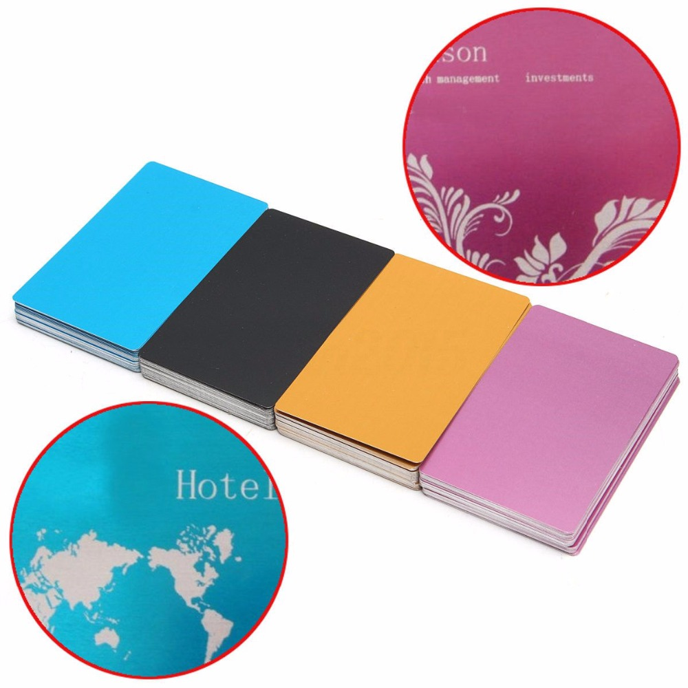 50Pcs Colorful Aluminum Alloy Blanks Business Cards Laser Mark Engraved Metal Smooth Business Visiting Name Cards