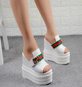 2018 Europe and the United States spring and summer new 14CM super high-heeled nightclub women sandals wedges thick bottom buckl kryte sandały na platformie