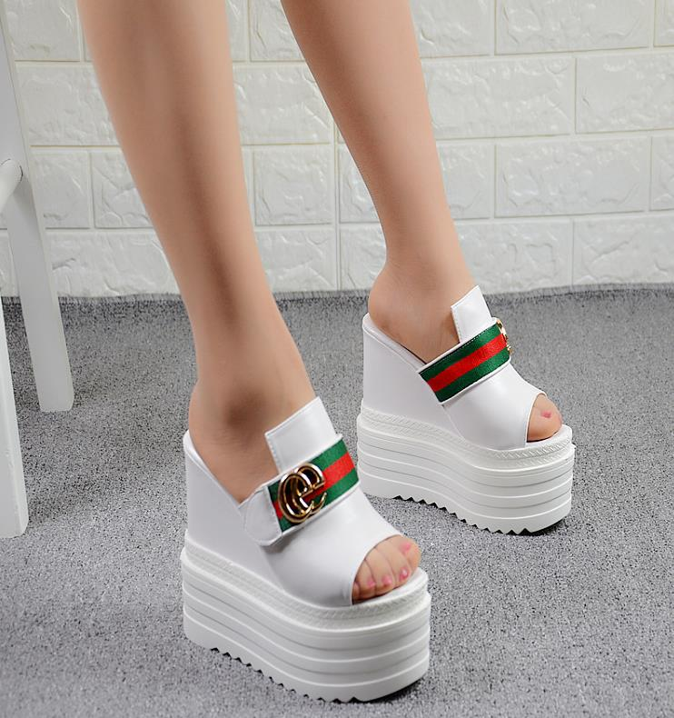 2018 Europe and the United States spring and summer new 14CM super high-heeled nightclub women sandals wedges thick bottom buckl europe and the united states 2015 new spring shoes and high heeled shoes asakuchi pointy suede 35 41 code